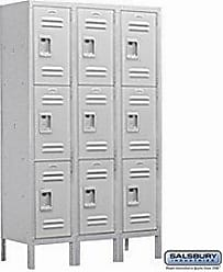 Salsbury Industries Assembled 3-Tier Extra Wide Standard Metal Locker with Three Wide Storage Units, 6-Feet High by 15-Inch Deep, Gray