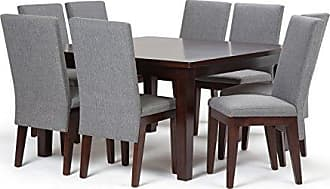 Simpli Home Simpli Home AXCDS9JEN-GL Jennings Contemporary 9 Pc Dining Set with 8 Upholstered Dining Chairs and 54 inch Wide Table