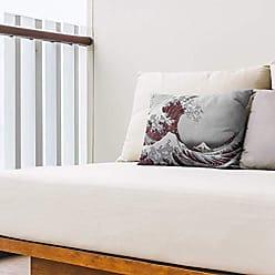 ArtVerse Katsushika Hokusai 14 x 14 Spun Polyester Japanese Cranes in Blue and Red Pillow