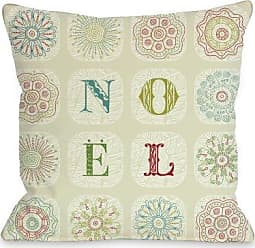 One Bella Casa Boho Noel Throw Pillow by OBC, 18x 18, Ivory/Multi