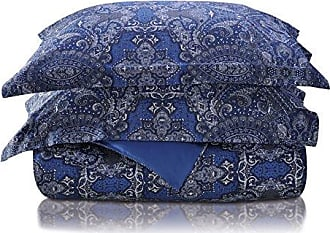 Home City Inc. Superior 300 Thread Count Cotton Alderwood Print Duvet Cover Set Reversible Full/Queen Navy Blue