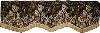 Violet Linen Decorative Christmas Tapestry Window Valance, 60 x 15, Teddy Bears Design