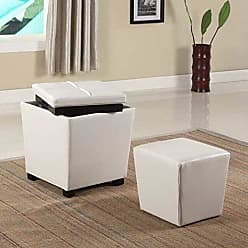 Round Hill Furniture 2-in-1 Storage Ottoman with Stool, Snow White