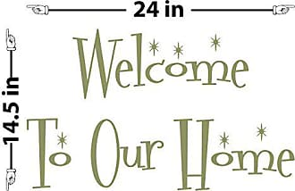 The Decal Guru Welcome to Our Home Vintage Wall Decal (Olive, 14.5 (H) X 24 (W))
