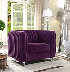 Chic Home Iconic Home Kent Elegant Velvet Modern Contemporary Plush Cushion Seat Round Acrylic Feet Club Chair, Purple
