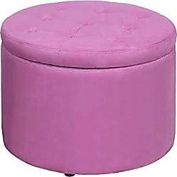 Convenience Concepts 161546FPK Designs4Comfort Round Shoe Ottoman, Pink Faux Suede