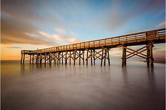 Noir Gallery Isle of Palms South Carolina Beach Pier Sunrise Canvas Wall Art - CHSC-04-TW-08