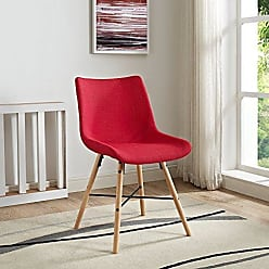 Walker Edison WE Furniture AZH18SNO2RD Dining Chair, Set of 2, Red