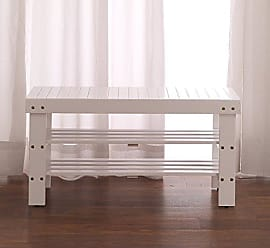 Round Hill Furniture Pina Quality Solid Wood Shoe Bench, White Finish