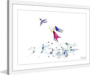 Marmont Hill Woman & Bird by Maya Gur Framed Painting Print 24x16 Multicolor