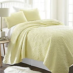 iEnjoy Home Simply Soft Quilted Coverlet Set Damask Patterned, Twin/Twin X-Large, Yellow