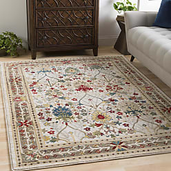 Overstock William Ivory Rustic Vintage Area Rug (710 x 910) - 710 x 910 (White/Brown - 710 x 910)