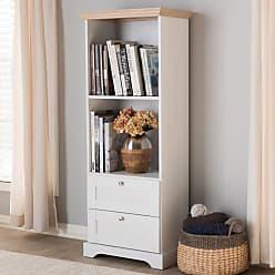 Baxton Studio Anna Modern and Contemporary Oak and White Two-Tone Bookcase - ANNA-2DW-SONOMA/WHITE