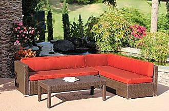 Jeco W31-FS018 Wicker Conversation Sectional Set - Cushions, Espresso