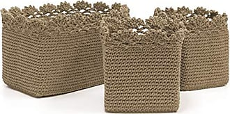 Heritage Lace Mode Crochet Rectangle Baskets with Crochet Edge, 5 by 5 by 6-Inch/10 by 6 by 6-Inch, Tan, Set of 3