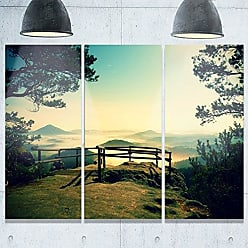 DESIGN ART Designart MT9731-3P Full Moon Autumn Midnight Landscape Photo Metal Wall Art (3 Panels), 28 H x 36 W x 1 D 3P, Green