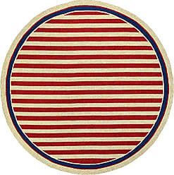 Couristan Covington Collection Round Nautical Stripes Rug, 710, Red/Navy