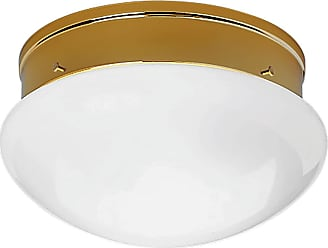 PROGRESS P3410-10 Two-light close-to-ceiling in Polished Brass finish with white glass