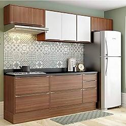 Multimóveis Cozinha Calábria 8 Peças 8 Portas Nogueira E Branco Multimóveis