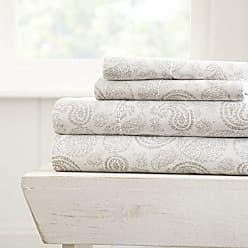 iEnjoy Home Simply Soft 4 Piece Sheet Set Coarse Paisley Patterned, California King, Light Gray