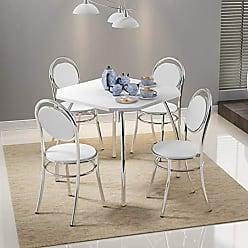 Siena Móveis Conjunto Mesa Quadrada e 4 Cadeiras Siena Móveis Cromado/Branco