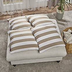 Christopher Knight Home 303151 Mireille Taupe and White Striped Fabric Throw Pillow (Set of 4)