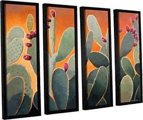 ArtWall 4 Piece Rick Kerstens Cactus Orange Floater Framed Canvas Artwork, 36 x 48