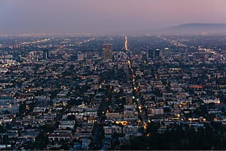 Noir Gallery View of Los Angeles California at Night on Canvas - LA-02-TW-08