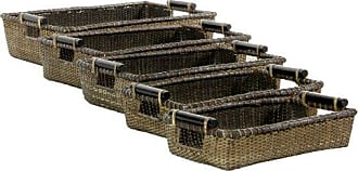Oriental Furniture Rattan Open Tote with Pole Handles ( Set of 5 )(B)