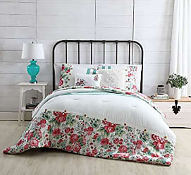 VCNY Home VCNY Home Martha Reversible Floral to Stripe 4 Piece Bedding Comforter Set, Twin XL, White