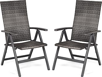 Costway 2 pcs Rattan Folding Reclining Outdoor Wicker Portable Chairs