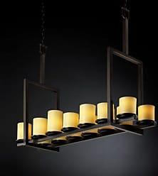 Justice Design CNDL-8764 - Dakota 14 Light Tall Bridge Chandelier - Cylinder with Flat Rim Shade - Dark Bronze with Amber Shade - CNDL-8764-10-AMBR