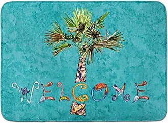 19 H x 27 W Carolines Treasures Cactus Teal and Green Watercolor Floor Mat Multicolor
