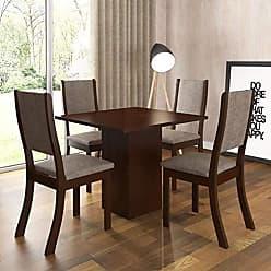 Viero Conjunto Sala de Jantar Mesa e 4 Cadeiras Caju Viero Choco/Canela