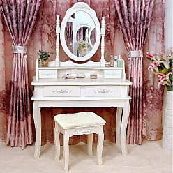 Overstock Rotation Removable Mirror Dressing Vanity Table Makeup Desk with Stool White
