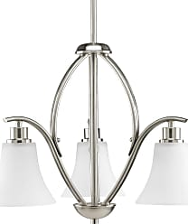 PROGRESS P4489-09 Three-light chandelier in Brushed Nickel finish with etched glass