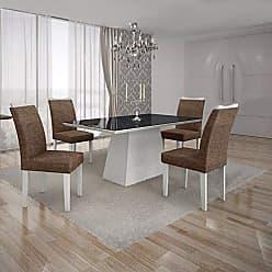 Leifer Conjunto Sala de Jantar Mesa Tampo MDF/Vidro Preto 4 Cadeiras Pampulha Leifer Branco/Linho Marrom
