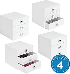 InterDesign Plastic 3 Jewelry Box, Compact Storage Organization Drawers Set for Cosmetics, Makeup, Hair Care, Bathroom, Office, Dorm, Desk, Countertop, 6.5 x 6.5 x 6.5, Set of 4, White