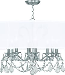 Livex Lighting 6308 8 Light 480 Watt Chandelier with Off White Silk
