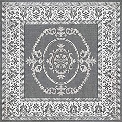 Couristan Couristan 1078/3012 Recife Antique Medallion/Grey-White 8-Feet 6-Inch Square Rug