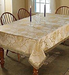Violet Linen Prestige Damask Design Oblong/Rectangle Tablecloth, 60 x 102, Beige