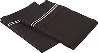 Superior Super Soft Light Weight, 100% Brushed Microfiber, King, Wrinkle Resistant, 2-Piece Pillowcase Set, Black with Grey 2-Line Embroidery Detail