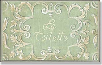 The Stupell Home Décor Collection La Toilette Green with Tan Scroll Bathroom Wall Plaque
