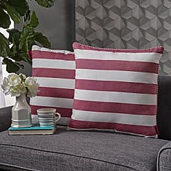 Christopher Knight Home 302761 Miriam Red and White Striped Fabric Throw Pillow (Set of 2)