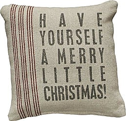 Primitives By Kathy Vintage Flour Sack Style Merry Little Christmas Holiday Throw Pillow