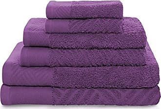 Home City Inc. Superior 100% Egyptian Cotton 6-Piece Towel Set, Basket Weave Textured Jacquard, Super Soft and Highly Absorbent, 2 Bath Towels, 2 Hand Towels, and 2 Face Towels, Made in Egypt, Majestic Purple