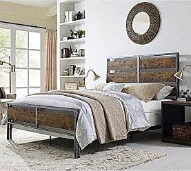 Walker Edison WE Furniture AZQSLRW Queen Bed, Brown