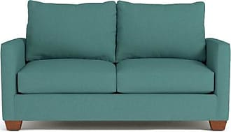 Apt2B Tuxedo Apartment Size Sleeper Sofa - Leg Finish: Pecan - Sleeper Option: Deluxe Innerspring Mattress - Teal Poly Blend - Sold by Apt2B - Modern C