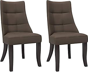 CorLiving DPP-890-C Antonio Tufted Woven Brown Upholstered Dining Accent Chairs with Wood Legs, Set of 2