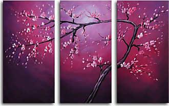 Omax Decor Pink on Crimson 3-Piece Canvas Wall Art - 36W x 24H in. - M 2023